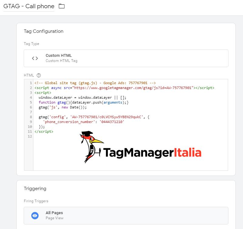 global tag snippet chiamata telefonica su tag html personalizzato google tag manager