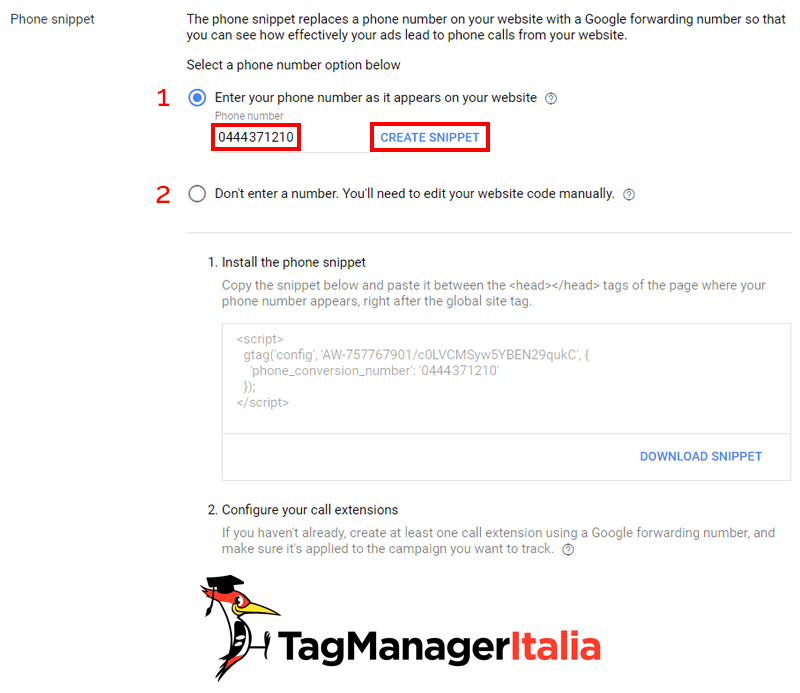 step 2 phone snippet gtag Google Ads con Google Tag Manager
