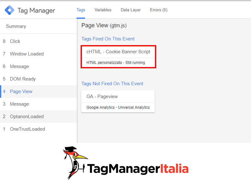 Console check injection custom html onetrust with Google Tag Manager