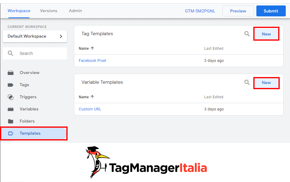 Create Templates Google Tag Manager