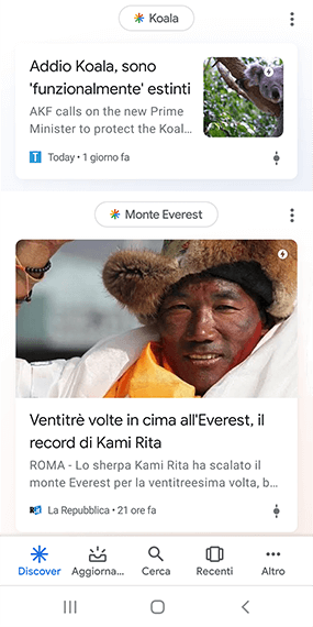Google Discover newsfeed