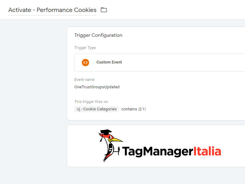 OneTrust Trigger Activate Performance Category in Google Tag Manager