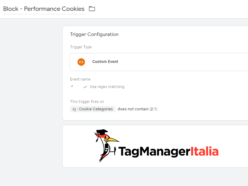 OneTrust Trigger Block Performance Category in Google Tag Manager