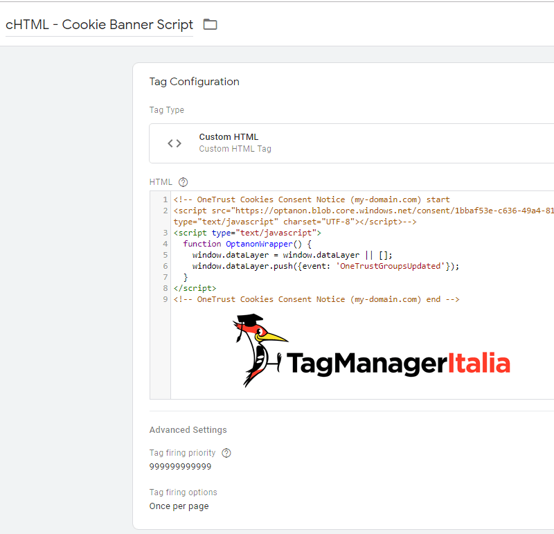 Script OneTrust inject banner with Google Tag Manager