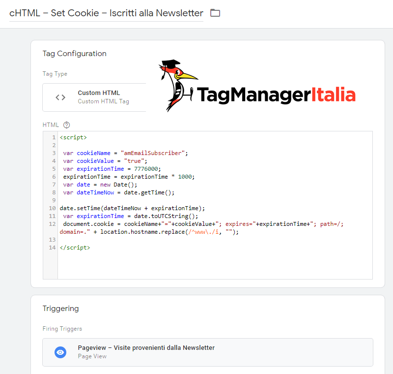 tag html set cookie google tag manager