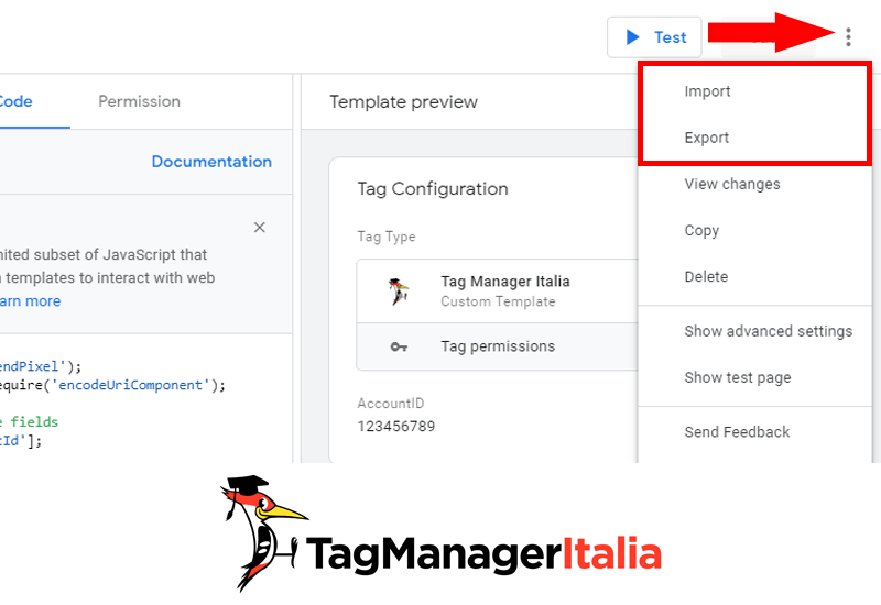 gtm template editor import and export dei modelli