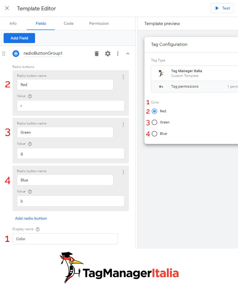 gtm template editor modulo pulsanti di opzione