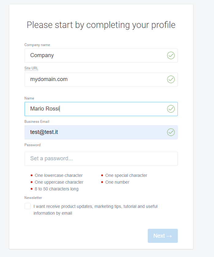 step 2 - create your account in customerly