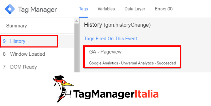 tag manager history event tracking pagine spa