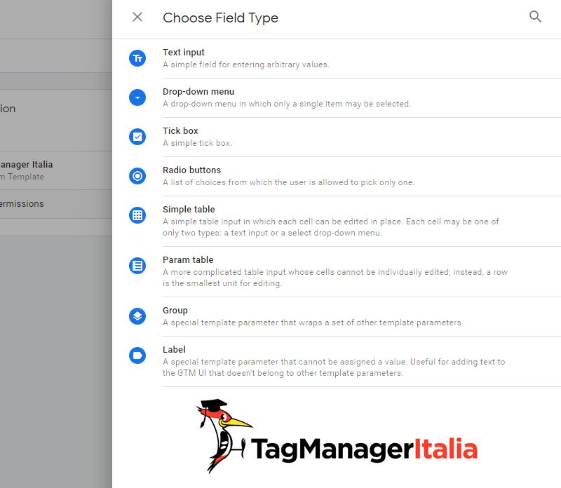 template editor lista moduli personalizzati