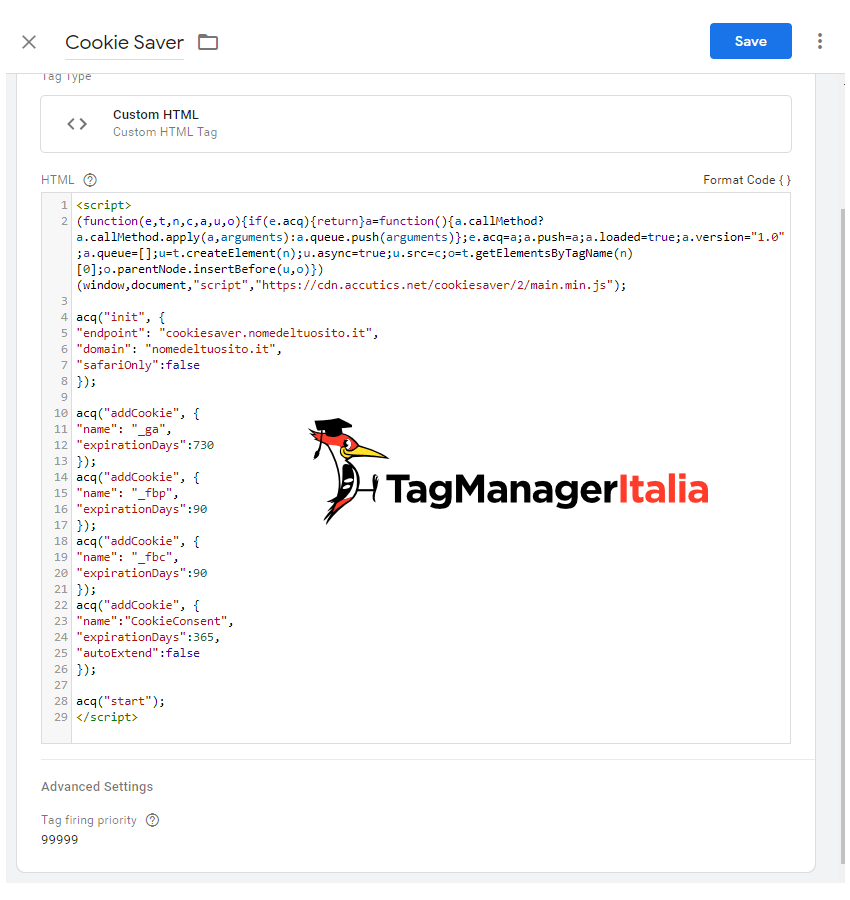 step 6 create custom tag HTML for Cookie Saver