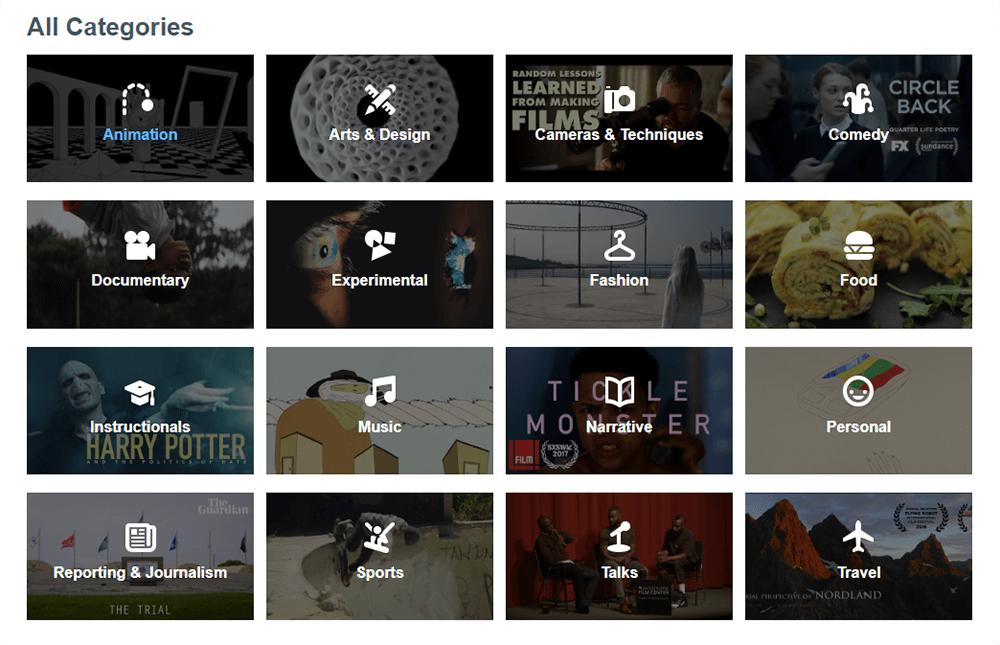 Le categorie proposte da Vimeo