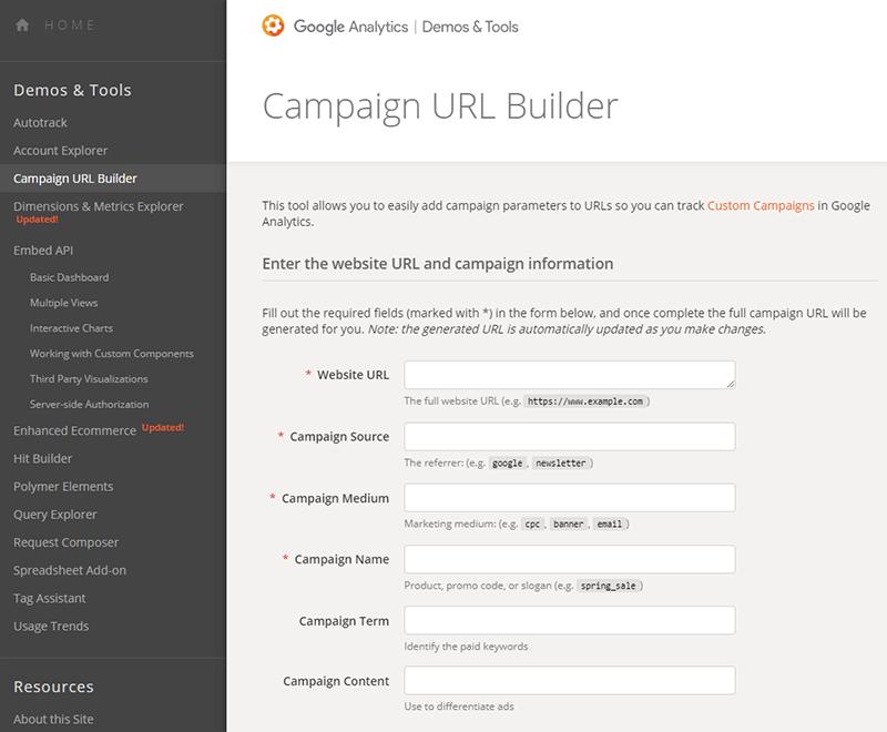 Campaign URL builder di Google