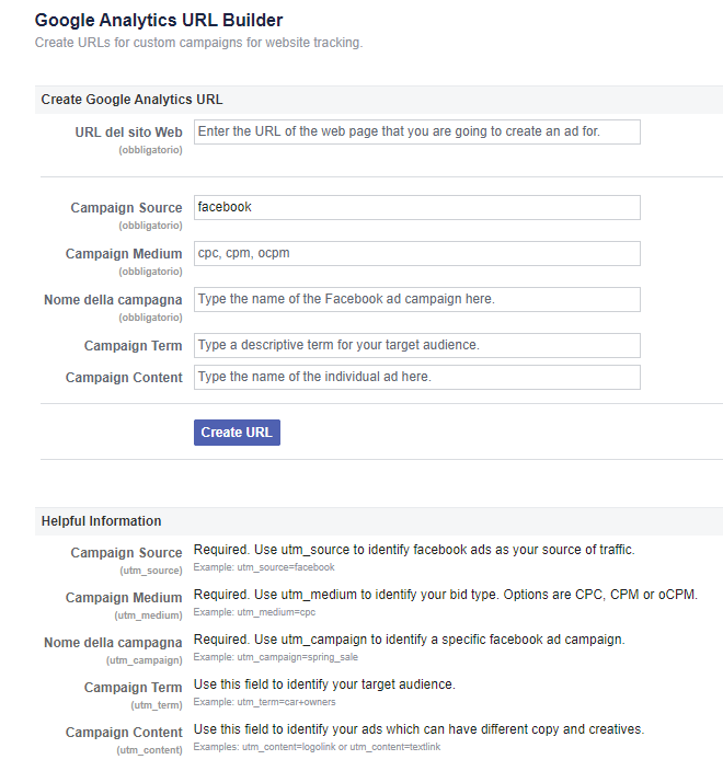 Google Analytics Builder di Facebook