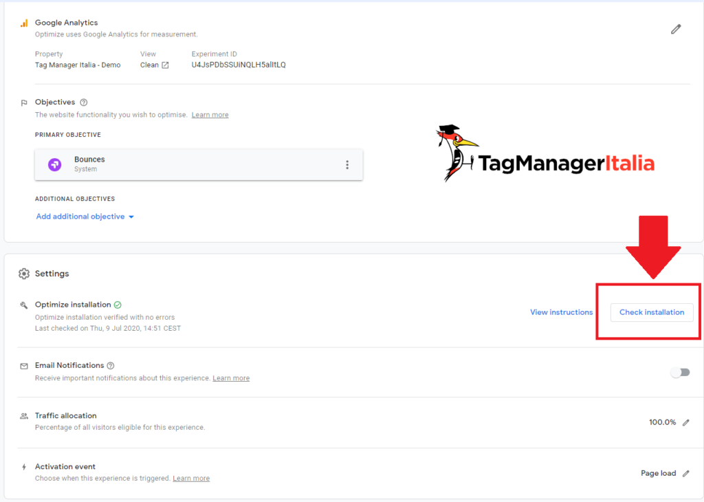 step check google optimize installation in gtm