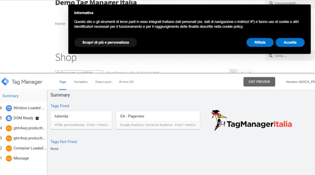 debug script iubenda con Google Tag Manager