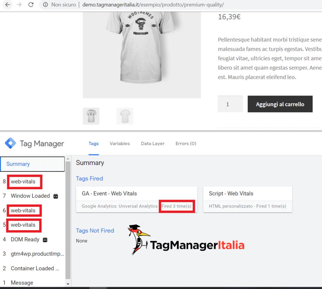 debug web vitals google tag manager