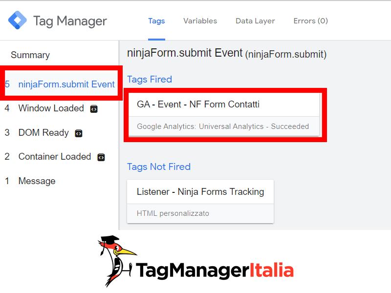 Console debug Google Tag Manager ninja form tracking