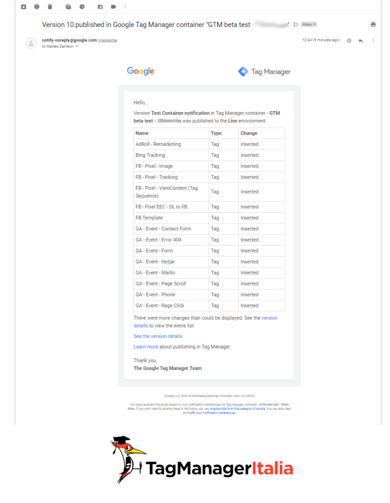 email container notification google tag manager