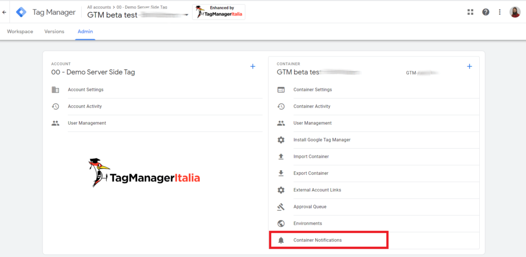 google tag manager container notification