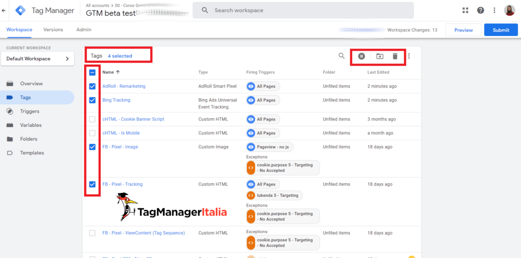 bulk actions google tag manager checkbox