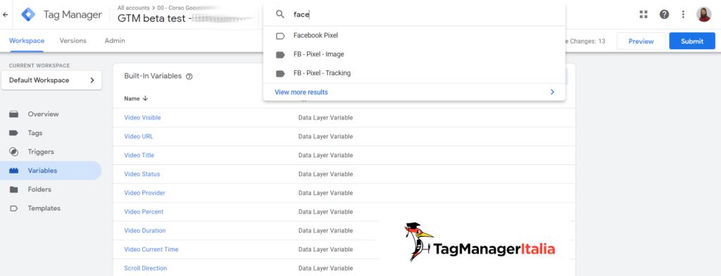 ricerca avanzata in google tag manager