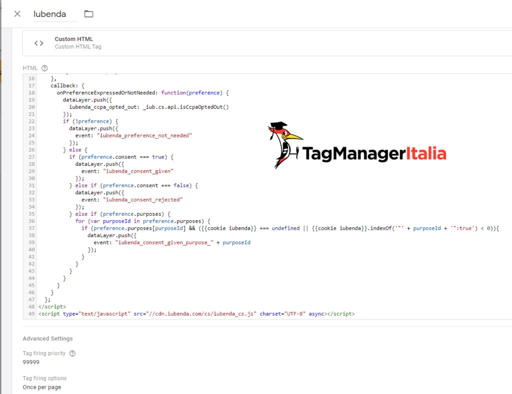 step 3 - crea custom html per il codice di iubenda per il consenso delle categorie