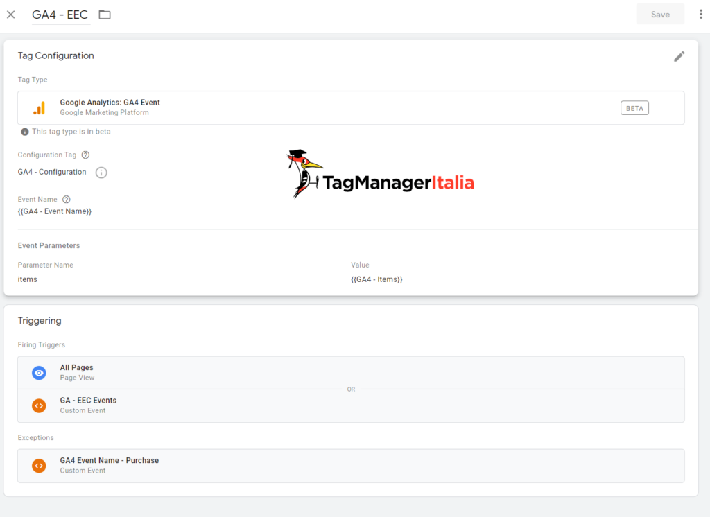 Google Analytics 4 Ecommerce Events with Google Tag Manager with All Pages and Exception - Matteo Zambon