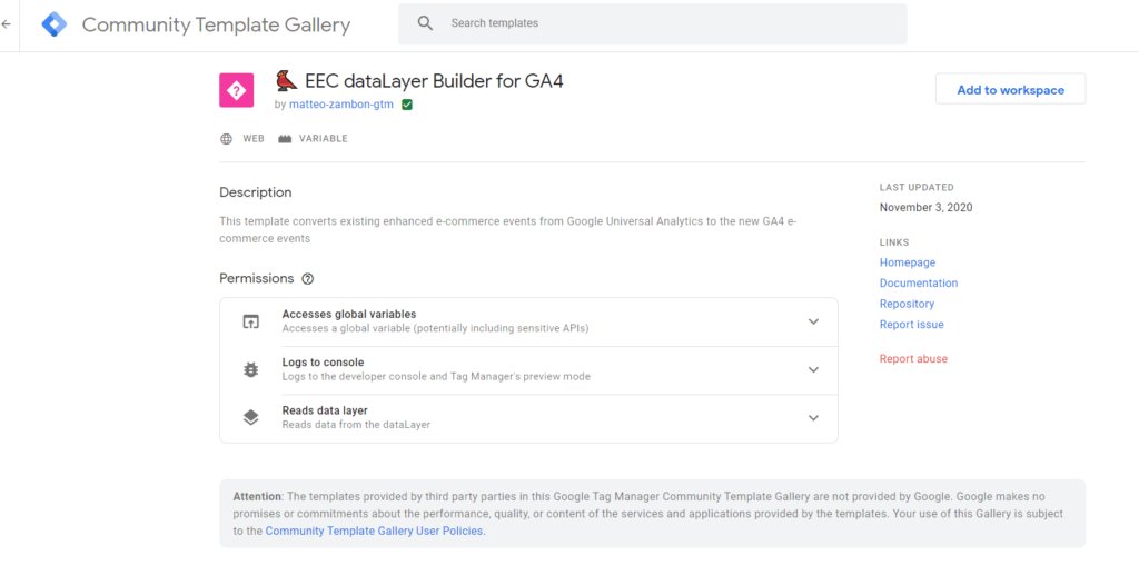 Matteo Zambon - Community Template Gallery Google Tag Manager details