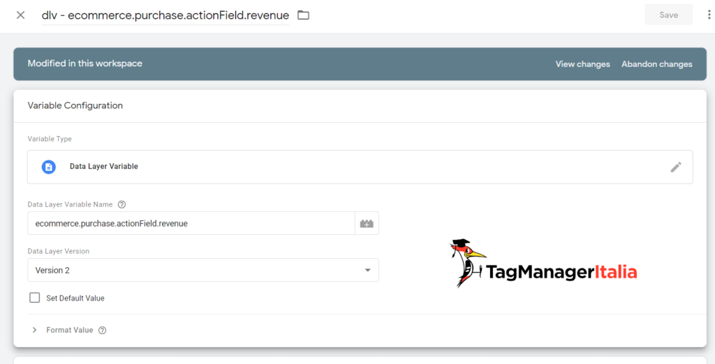 datalayer variable ecommerce.purchase.actionField.revenue for Google Analytics 4