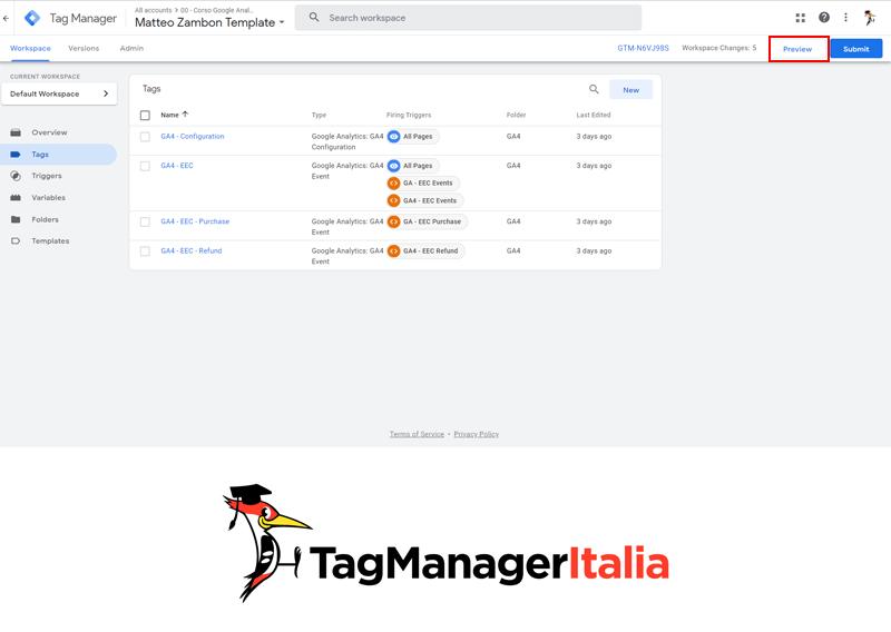 Come attivare la modalita Anteprima con Google Tag Manager