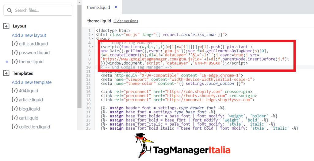 Edit theme liquid head Google Tag Manager