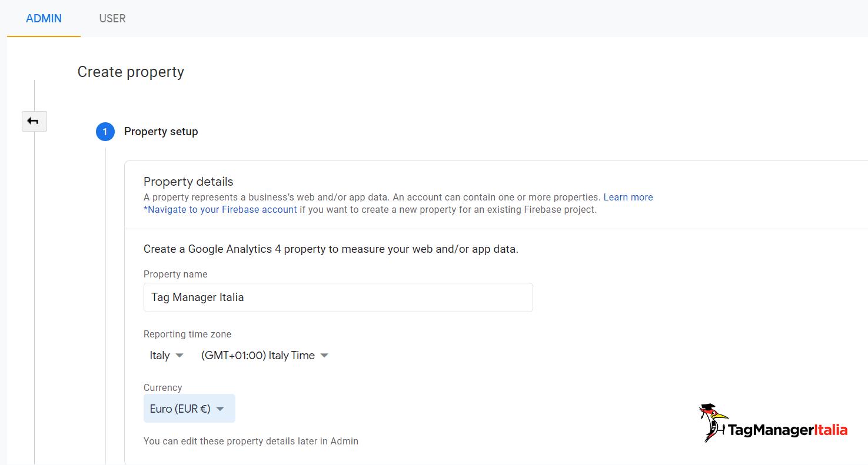 Google Analytics 4 setup a new property