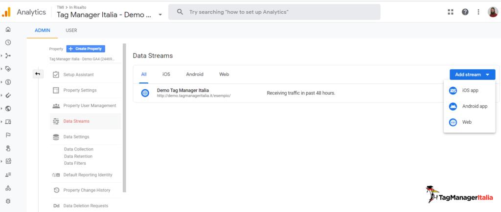 create new data stream in Google Analytics 4