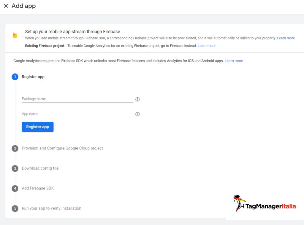 set up android data stream in google analytics 4