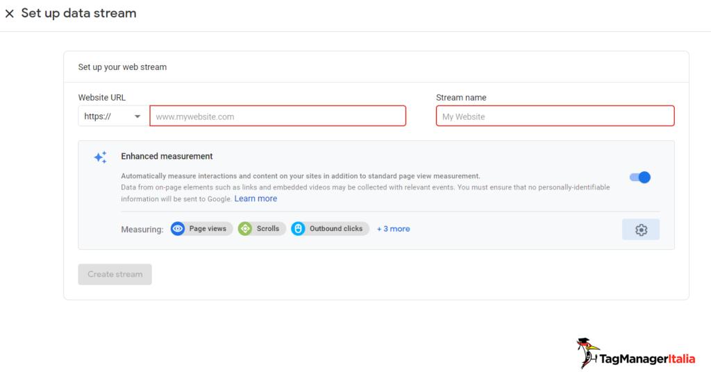 setup data stream web in Google Analytics 4