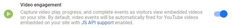 video engagemenet event enhanced measurement in Google Analytics 4