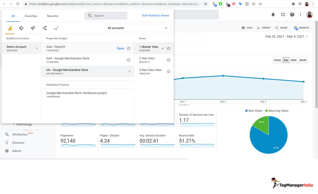 google analytics 4 and universal demo account