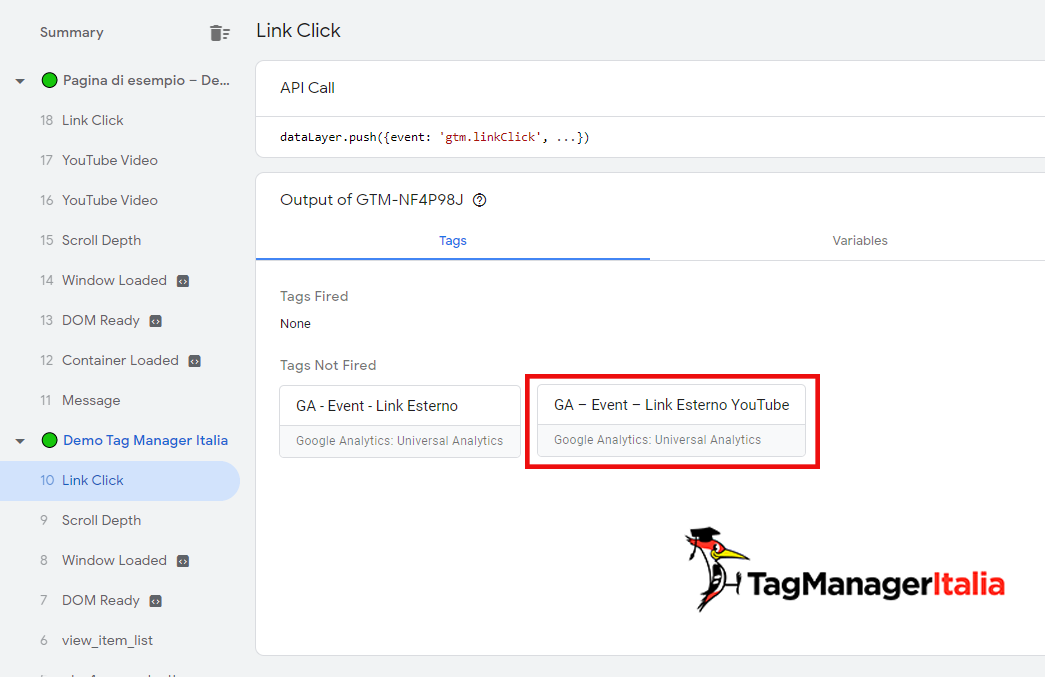 anteprima click link youtube google tag manager debug not fired