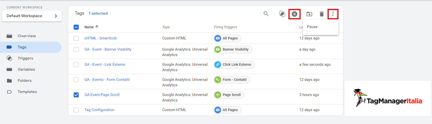 mettere in pausa tag google tag manager