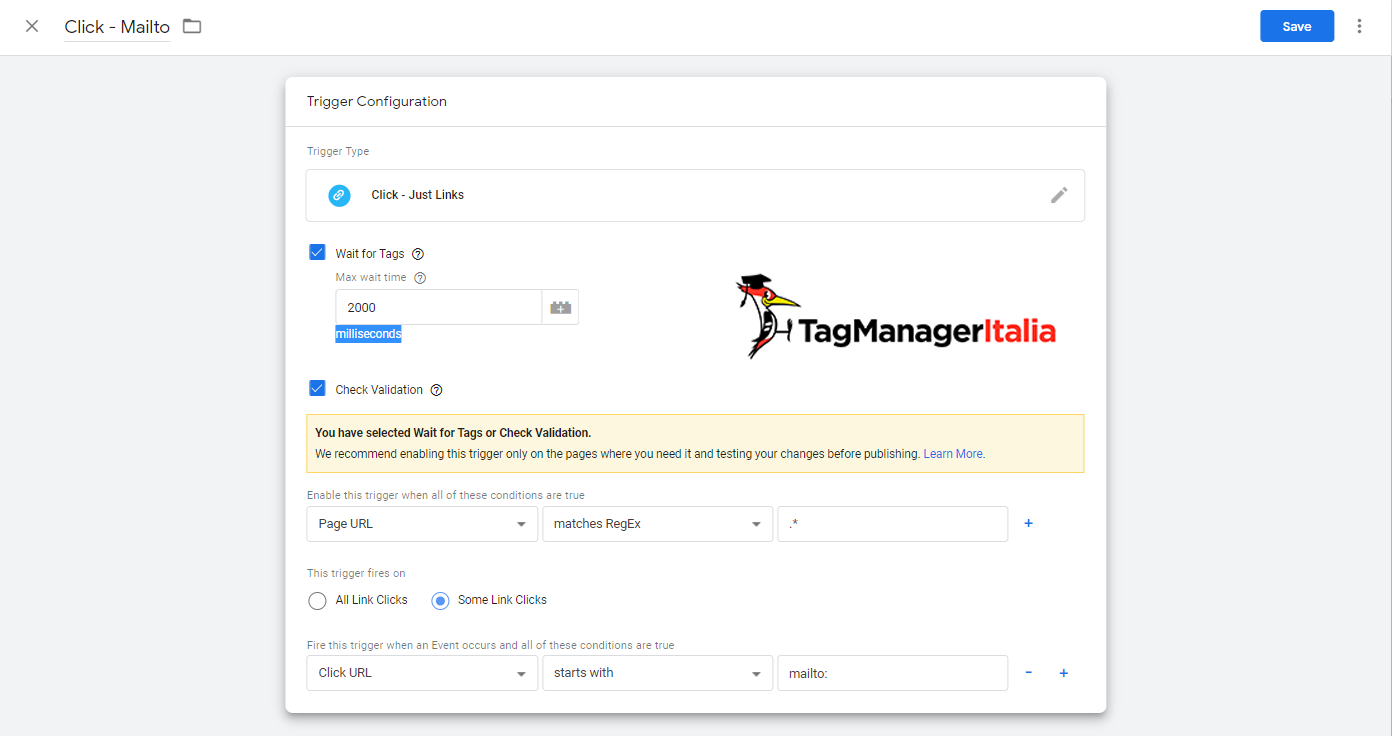 attivatore mailto google tag manager