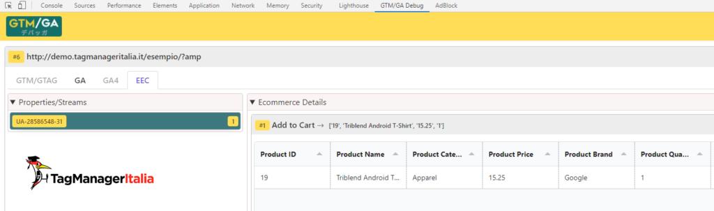 debug add to cart AMP enhanced ecommerce google analytics with GTM-GA EEC