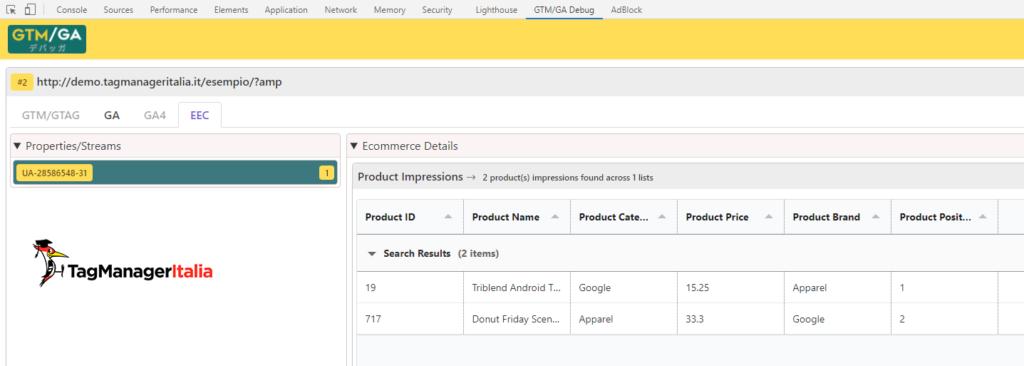 debug product impressions AMP enhanced ecommerce google analytics with GTM-GA EEC