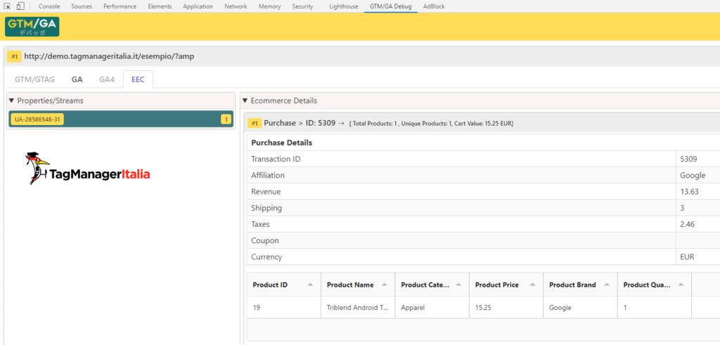 debug purchase enhanced ecommerce google analytics with GTM-GA EEC