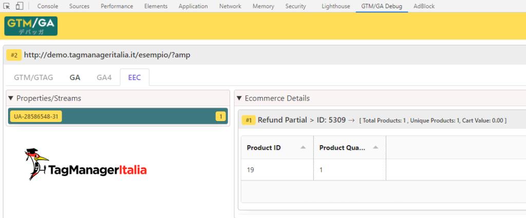 debug refund enhanced ecommerce google analytics with GTM-GA EEC