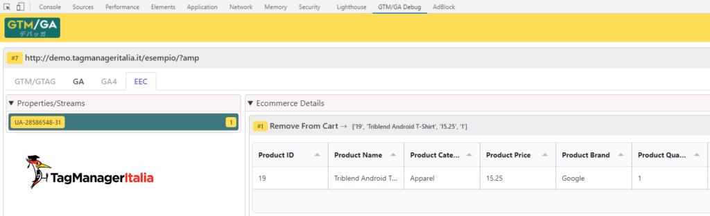 debug remove from cart AMP enhanced ecommerce google analytics with GTM-GA EEC