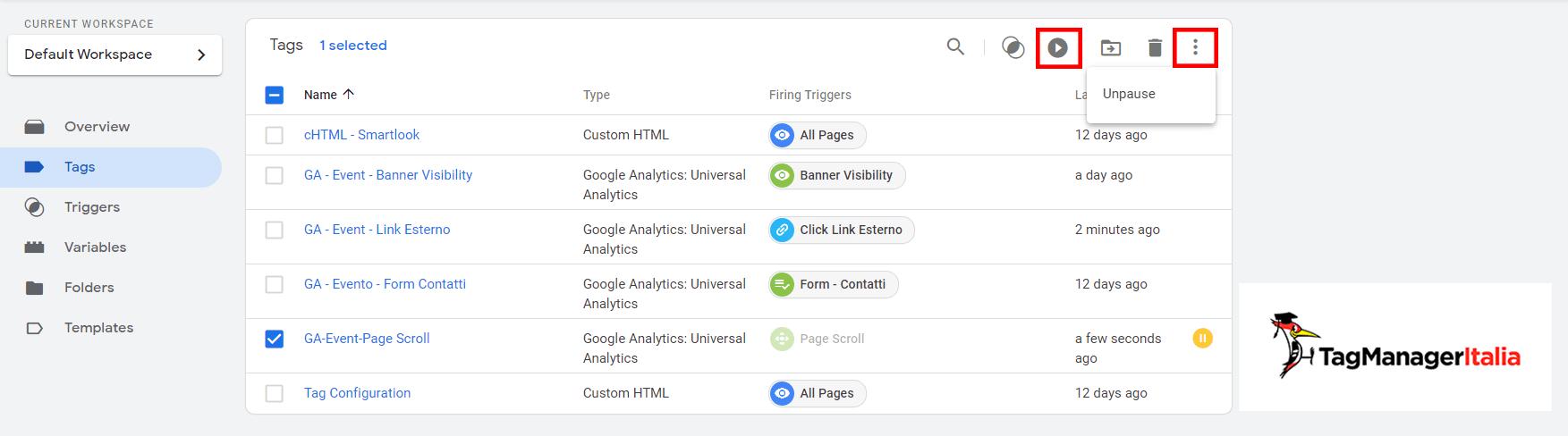 riattivare tag google tag manager