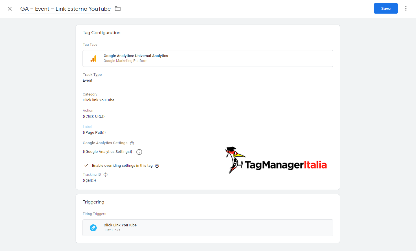 tag click link youtube google tag manager