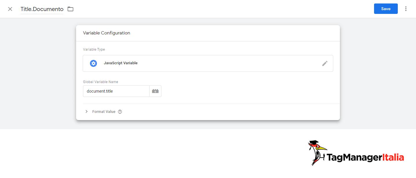 nome della variabile JavaScript per tracciare gli errori 404 con google tag manager
