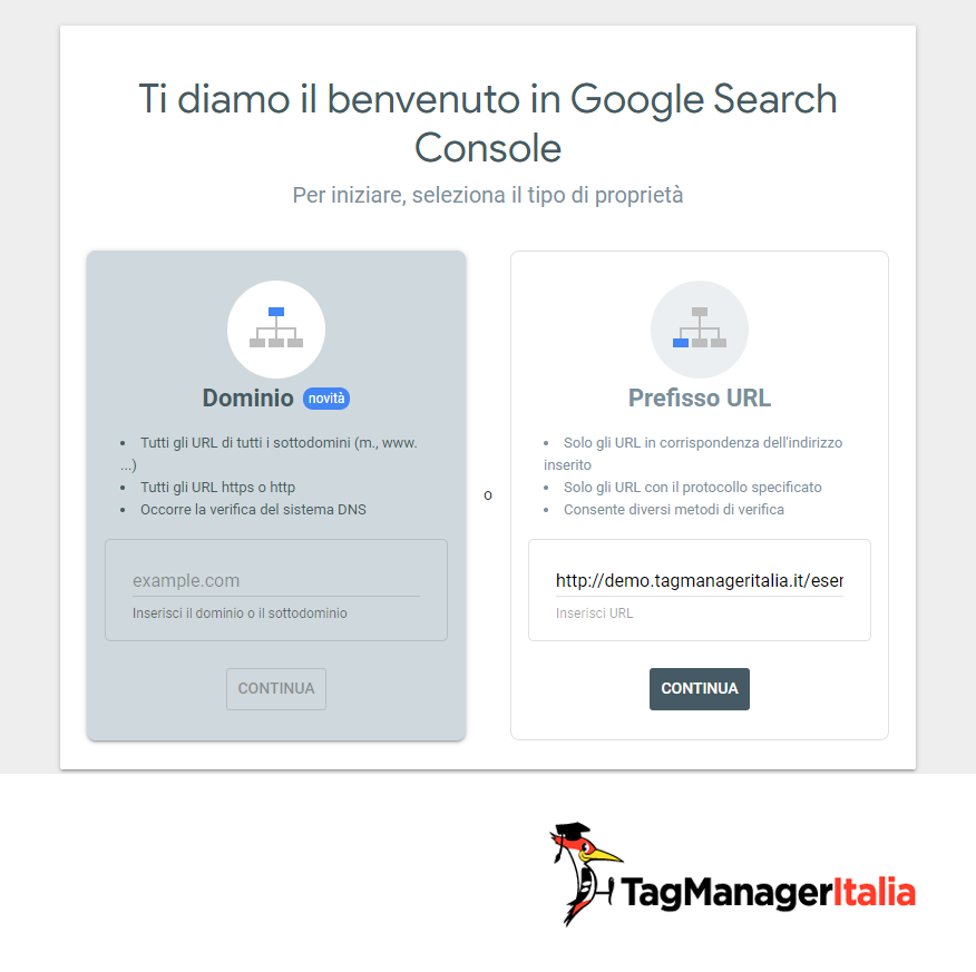 search console dominio scelta verifica proprieta